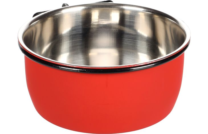 Flamingo Feeding and drinking bowl Avaro Red Silver Black - Stainless steel